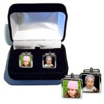 Personalised Photo CuffLinks Polished Silver With Free Cufflink Box